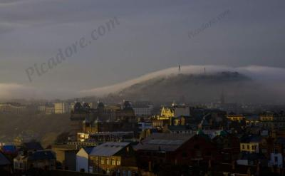 Oliver's mount shrouded in mist